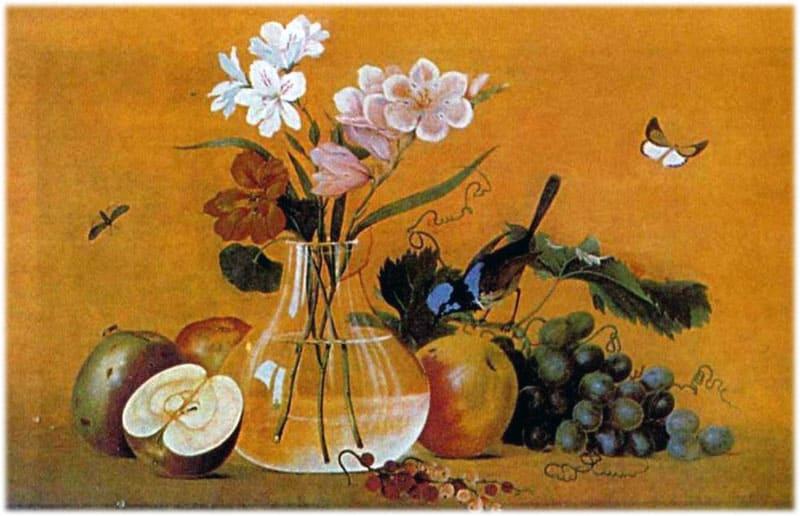 Картина Толстого Цветы, фрукты, птица