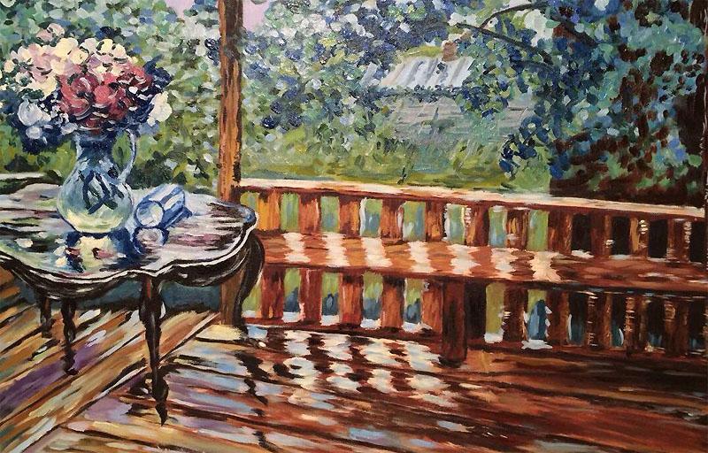картина Герасимова После дождя («Мокрая терраса»)