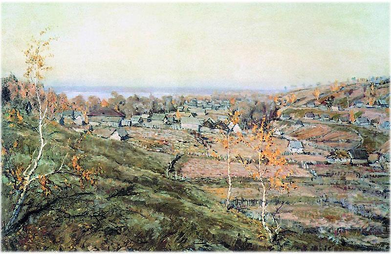 Описание картины Ромадина Село Хмелевка