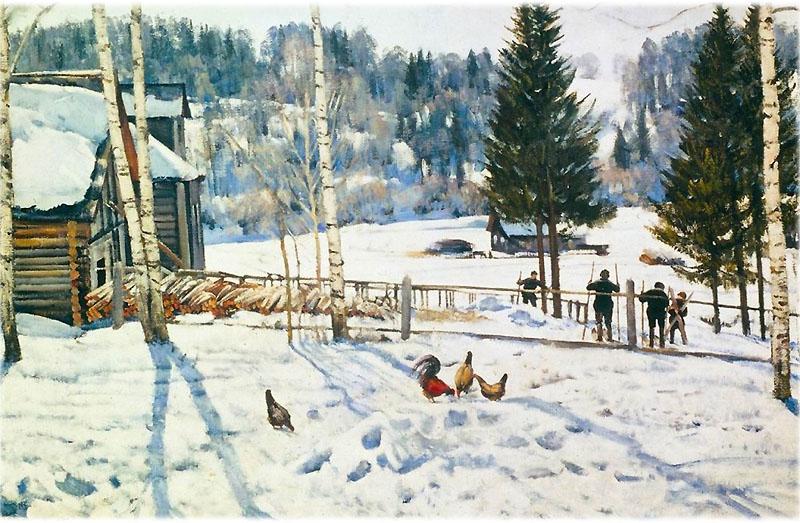 Картина Юона Конец зимы. Полдень