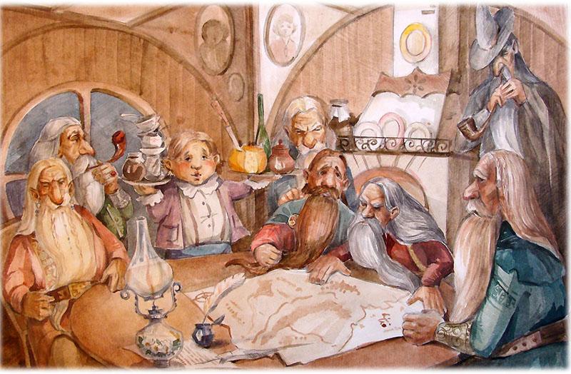 Компания гномов во главе с Гэндальфом
