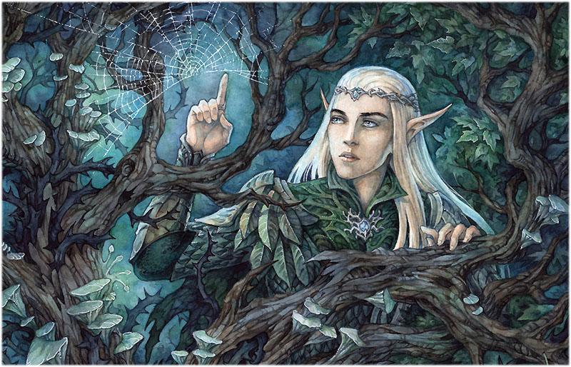Эльф Элронд встречает хоббита и гномов