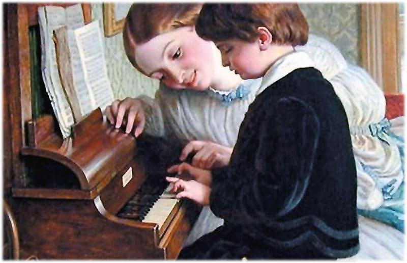Мама учит игре на пианино