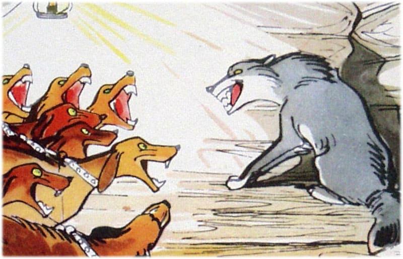 Крылов: Волк на псарне