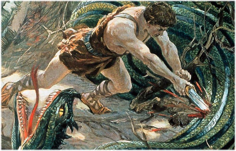 Зигфрид убивает змея