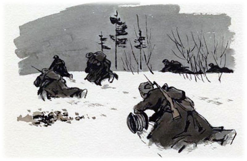 Василий Теркин идет с катушкой