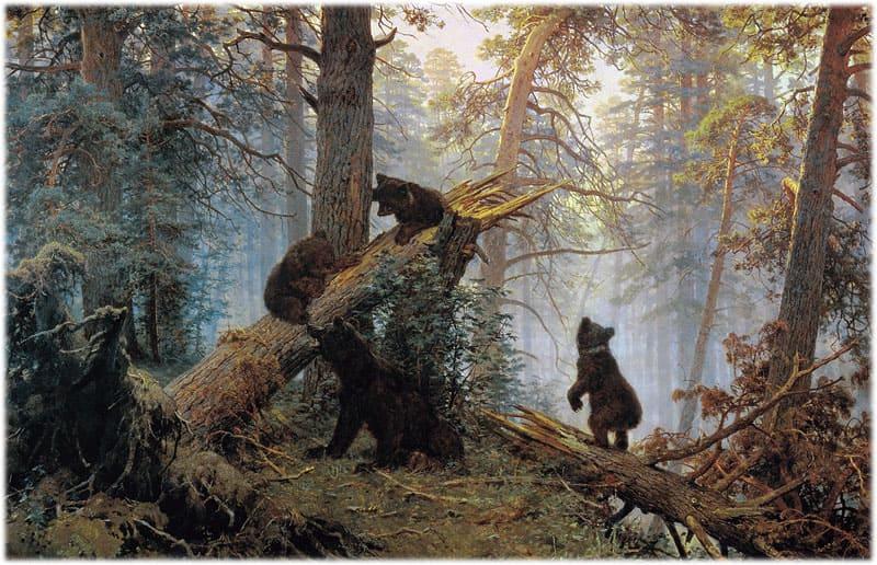 Шишкин: утро в сосновом лесу