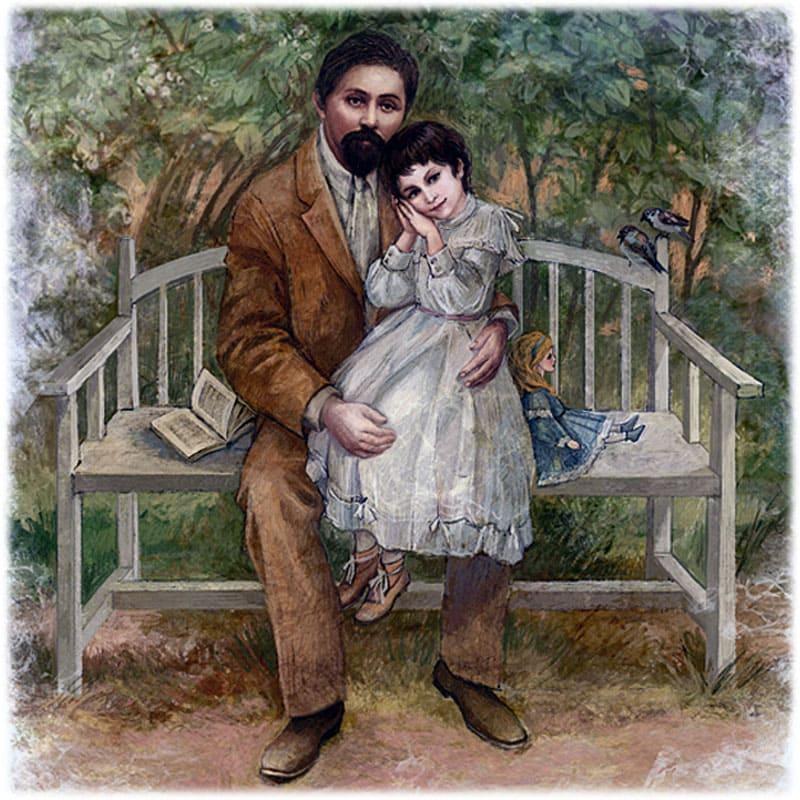 Мамин-Сибиряк с дочкой Аленушкой