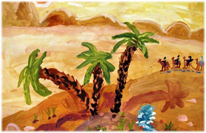 Рисунок к стихотворению Три пальмы Лермонтова