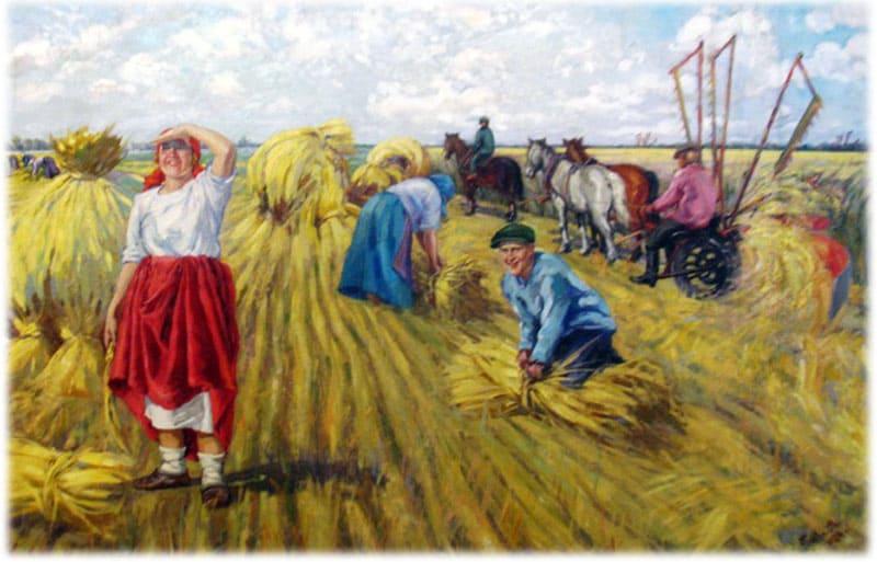 сюжетные картинки хлеборобы убирают урожай способы