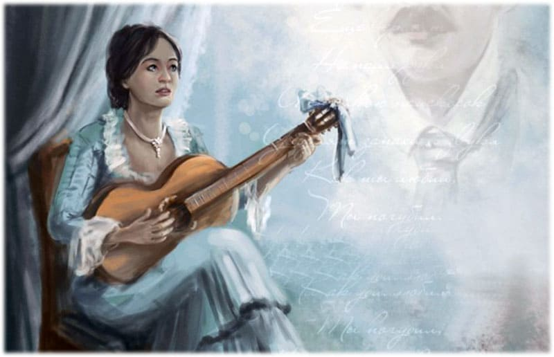 Лариса Огудалова с гитарой